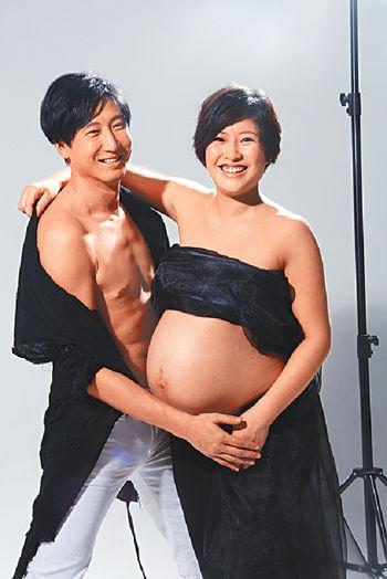 洪天明、周家蔚拍攝懷孕寫真照片